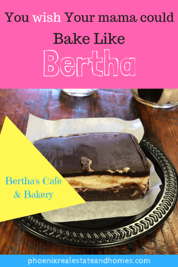 a chewy gooey chocolatey dessert from Bertha's Cafe & Bakery