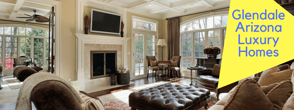 Beautiful family room with white painted millwork and big windows. Search Glendale Arizona Luxury Homes