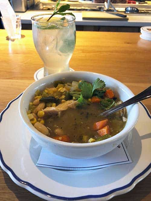 Green Chile Chicken Soup with corn and beans