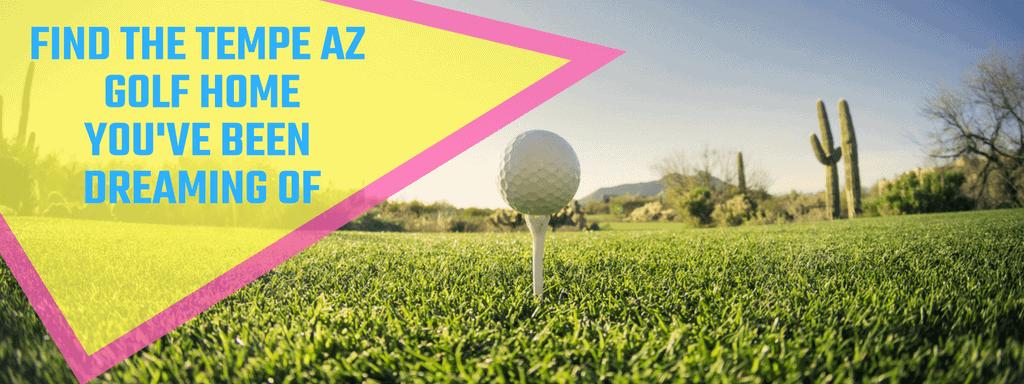 golf ball on a white tee in Tempe AZ golf course. Check out the Tempe AZ Homes Near Golf Courses