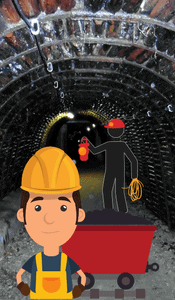 coal mine entrance tunnel with cartoon character miner