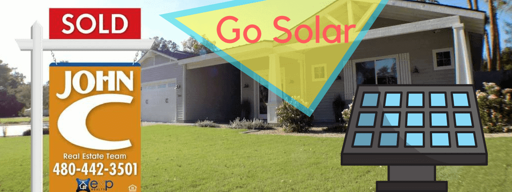 """Single level home with a solar panel in the yard. An overlay of text is on top of the umage which says """"Go Solar"""""""
