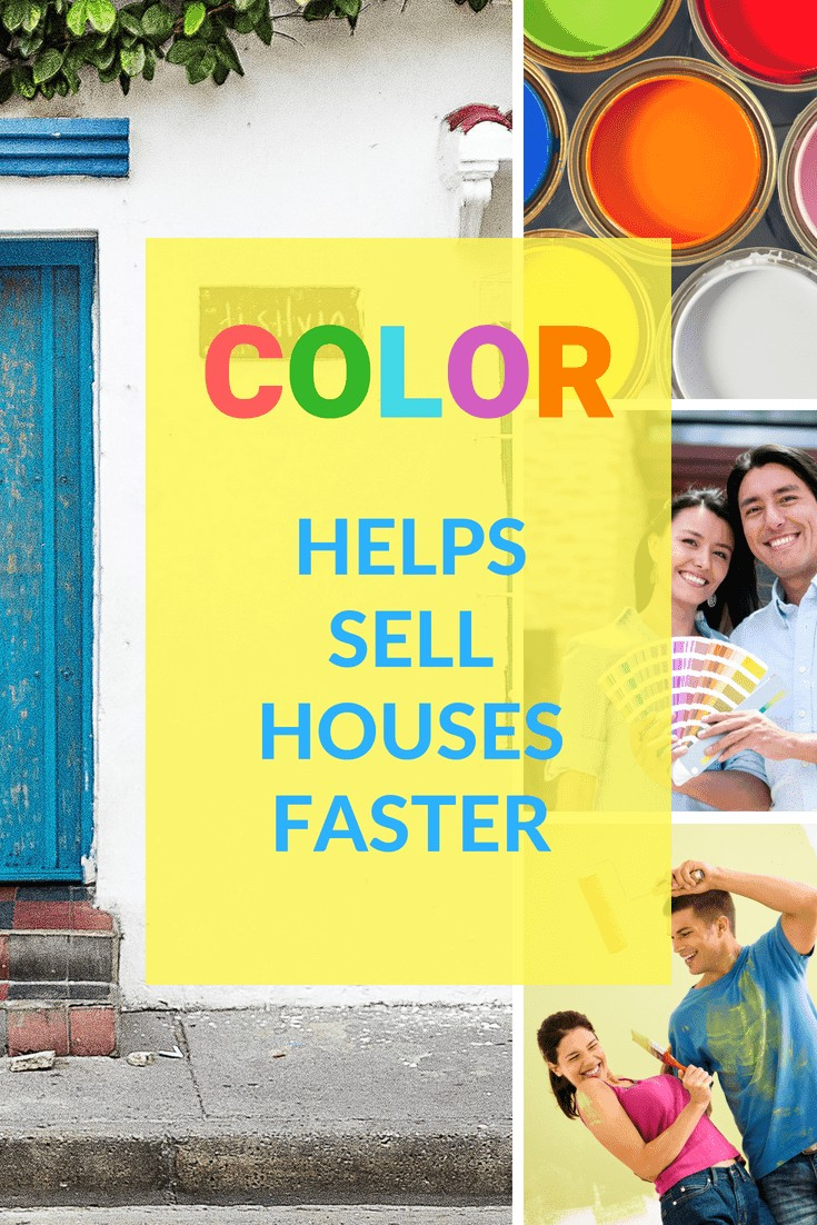 "people painting. A home with a faded blue door. Several images of paint, and people painting homes. The words "" House Painting Colors Help Sell Homes Faster"" superimposed over the images"