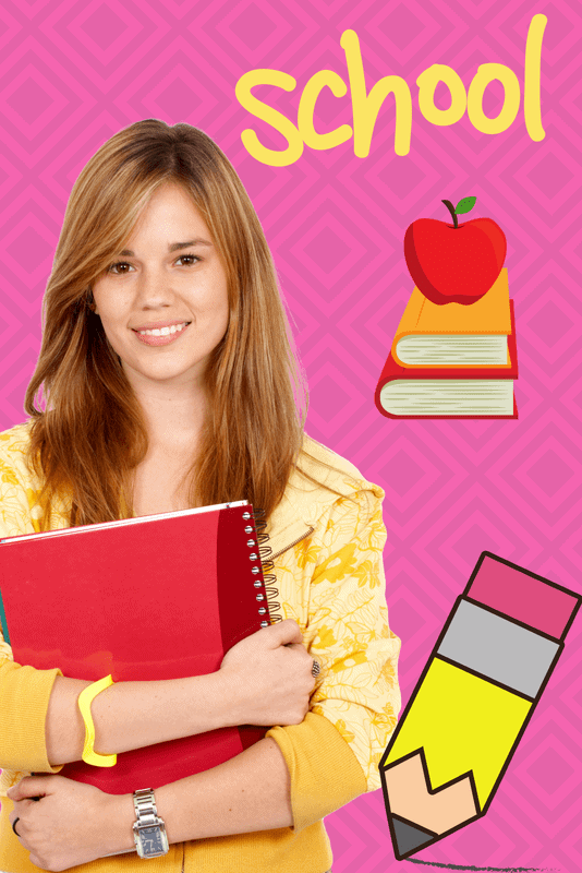 "Young high school student holding her books and smiling. To the right the word ""schooL"", a stack of books with an apple on top and a pencil. This graphic set is designed to promote the concept of buying a home near the ""Best School"""
