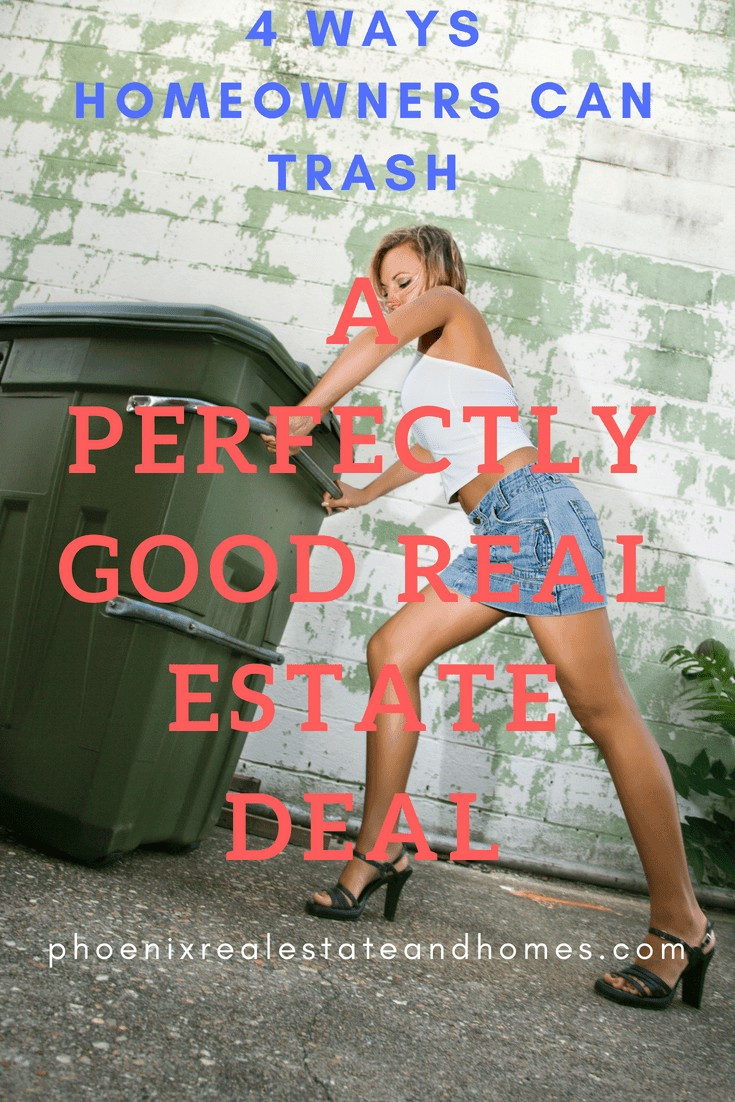 woman pushing a trashcan wearing short denim skirt and high heels