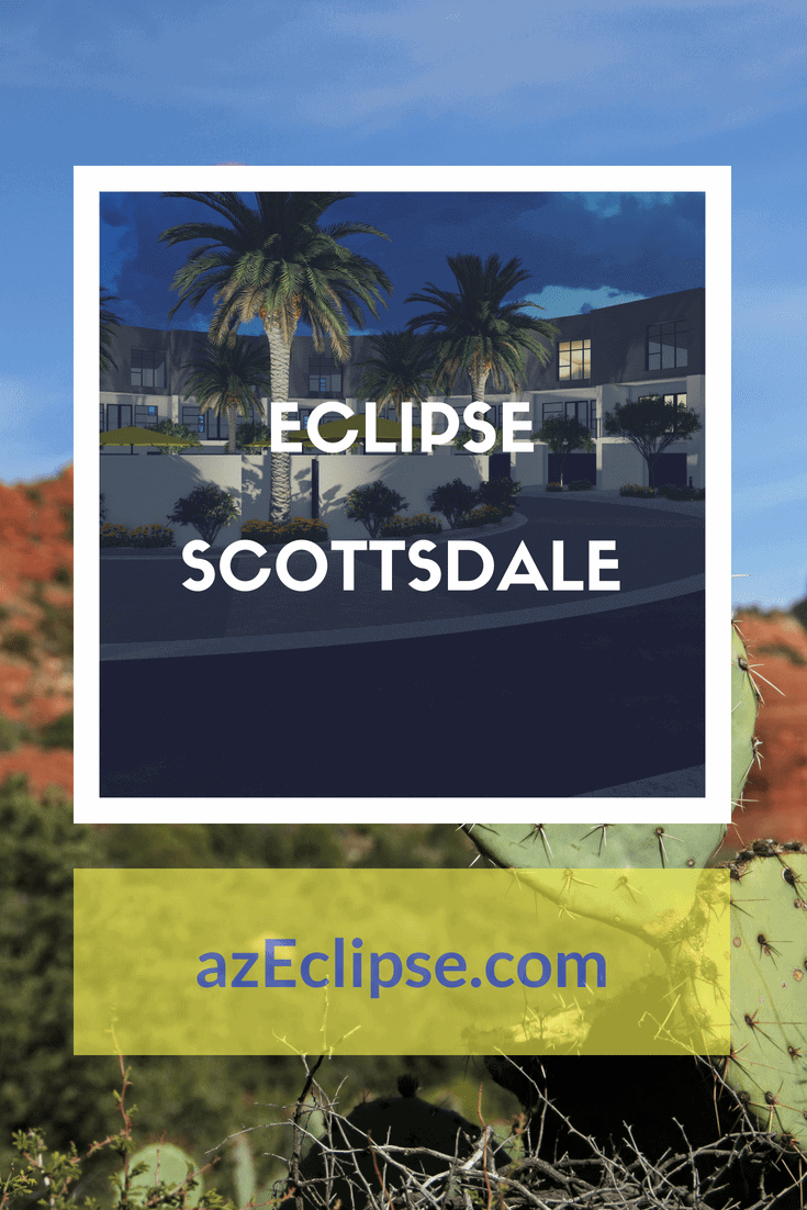 Arizona desert background with a smaller image in the center. Eclipse Scottsdale Net-Zero Townhomes