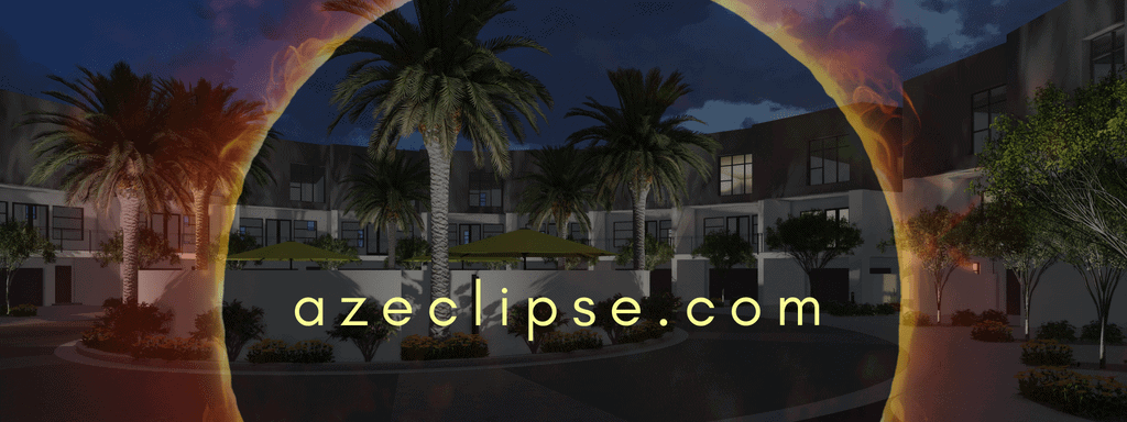 The Eclipse Scottsdale Townhomes community rendering with a semi transparent solar eclipse transposed over the image