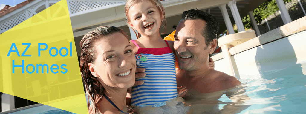 mom and dad swimming with baby girl in Valley Pool Houses for Sale by City