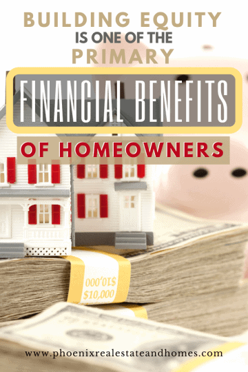 An image of a piggy bank with a house and financial benefit of homeowners which is the value of their house or the building equity