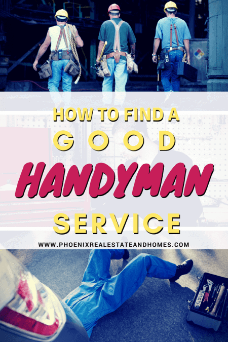 three handymen are walking to do the service and one man is performing handyman service