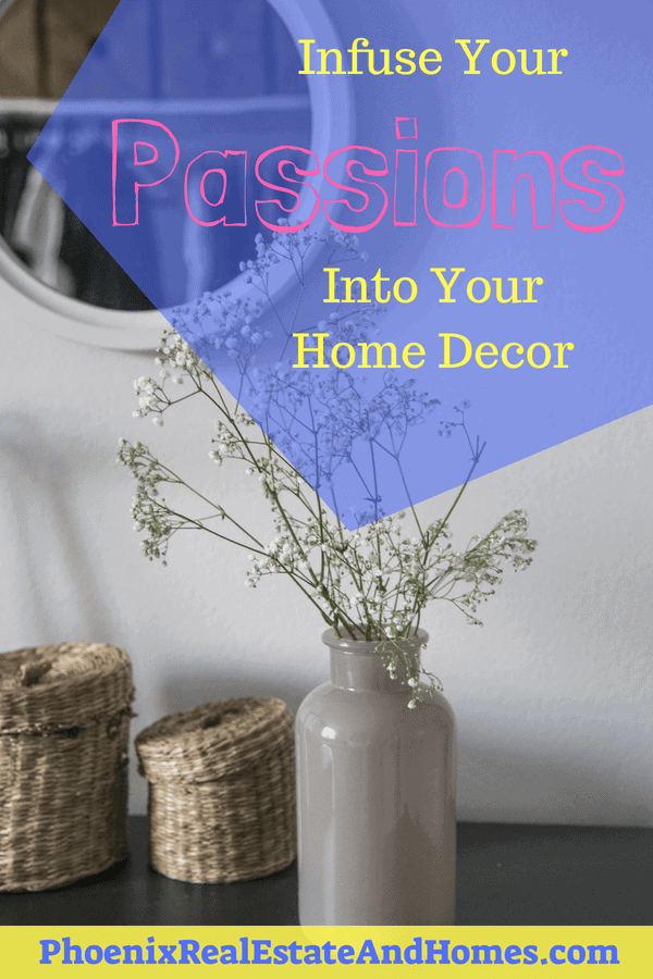 beautiful home decor design with a round mirror, flowers in a vase and small wicker baskets.