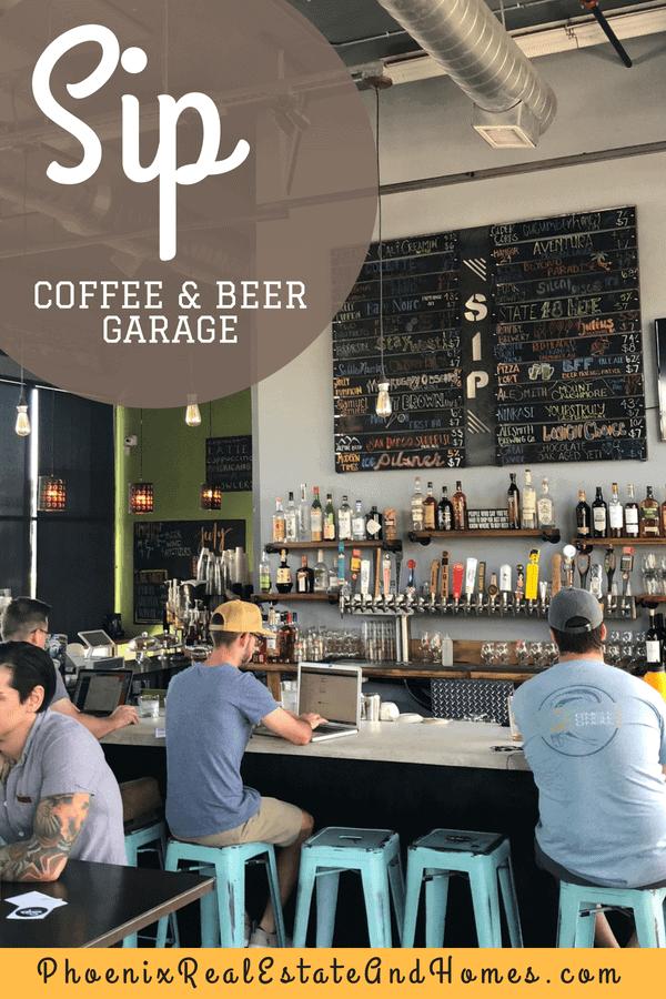 The Bar area in Sip Coffee & Beer Garage in Phoenix AZ