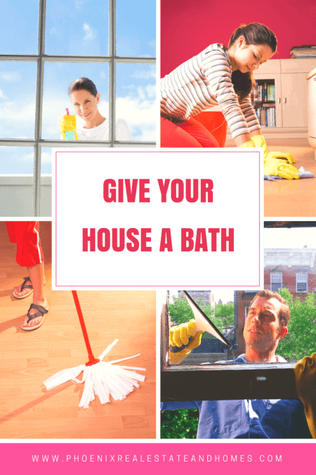 Four different homeowners cleaning their house by mopping, scrubbing, and cleaning the windows in How to Paint a House Right
