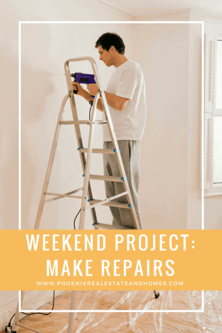 Home owner doing Weekend projects to prep for How to Paint a House Right is Weekend project Make repairs