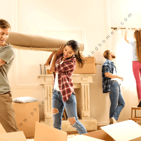 Young couple is carrying a new carpet for making house updates