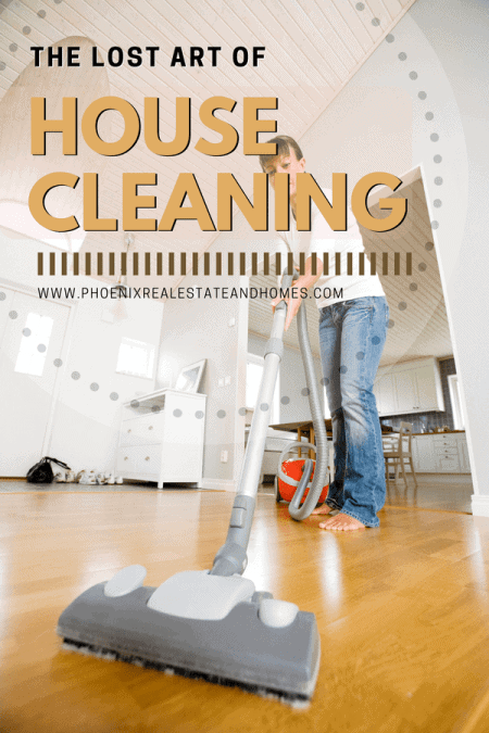 A beautiful lady who's cleaning the floor after following The Lost Art of House Cleaning tips